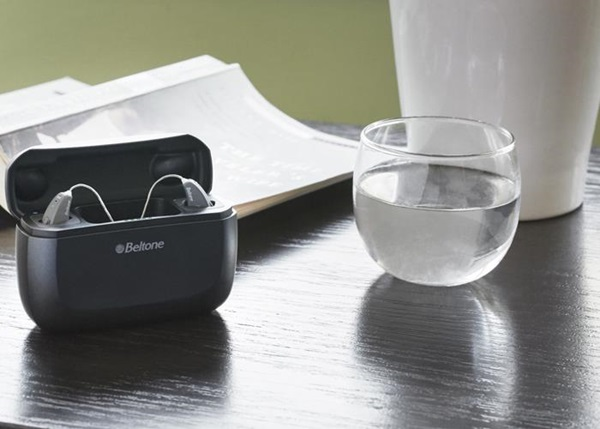 Beltone Amaze hearing aids in charger
