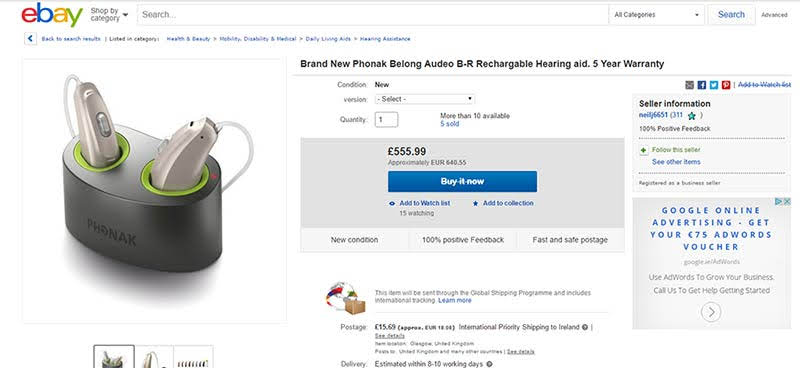 Ebay listing for Phonak hearing aids