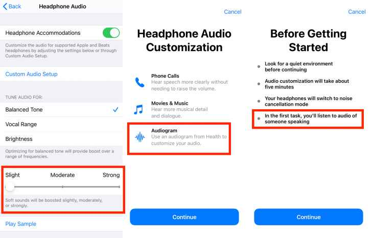 IOS Headphone Audio Customization screens Apple Phone