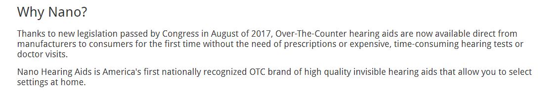 OTC claim on nanohearing.com