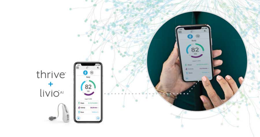Thrive app and Livio AI hearing aids